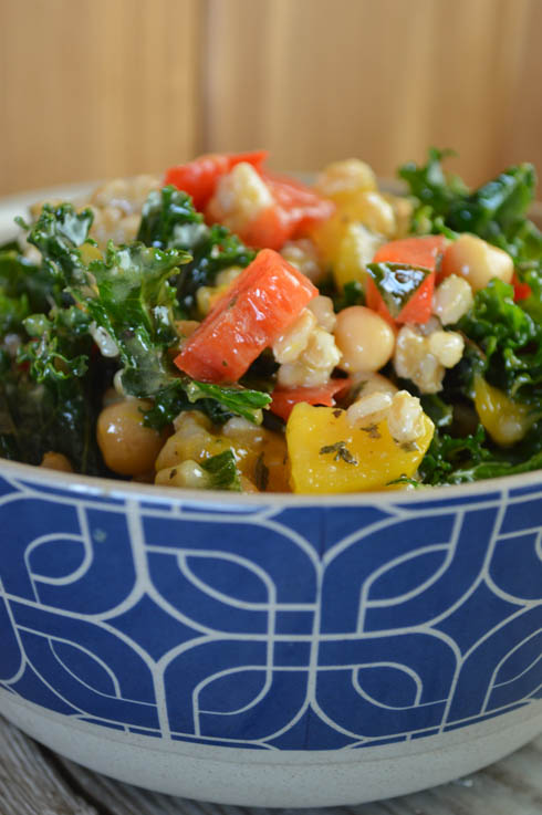 This Simple Mango Farro Kale Salad is flavorful and easy to make. It combines fresh produce with healthy canned foods for a salad that's light, yet filling.