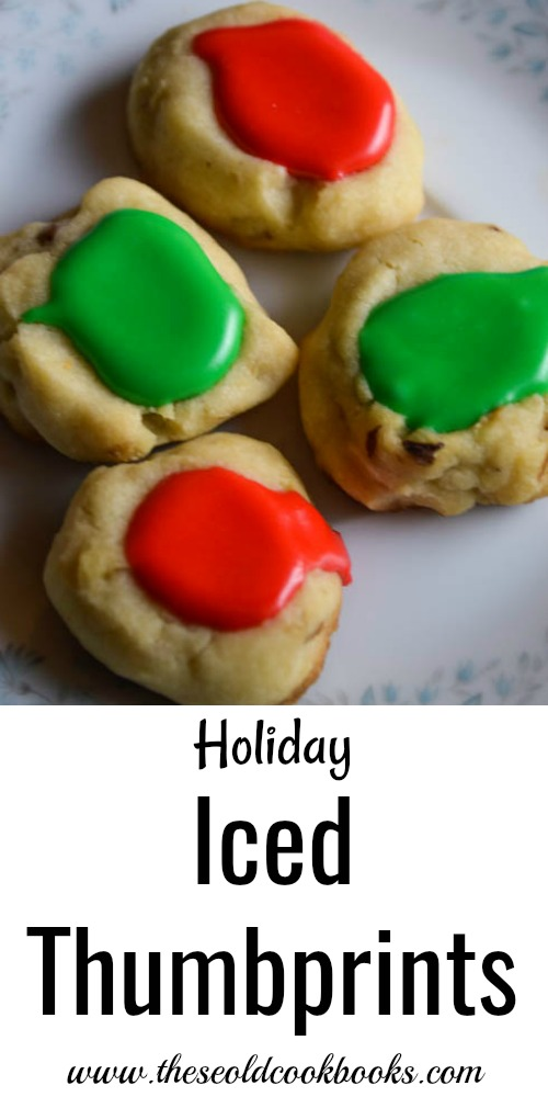 Holiday Iced Thumbprint Cookies with red or green icing are perfect for Christmas cookie trays.
