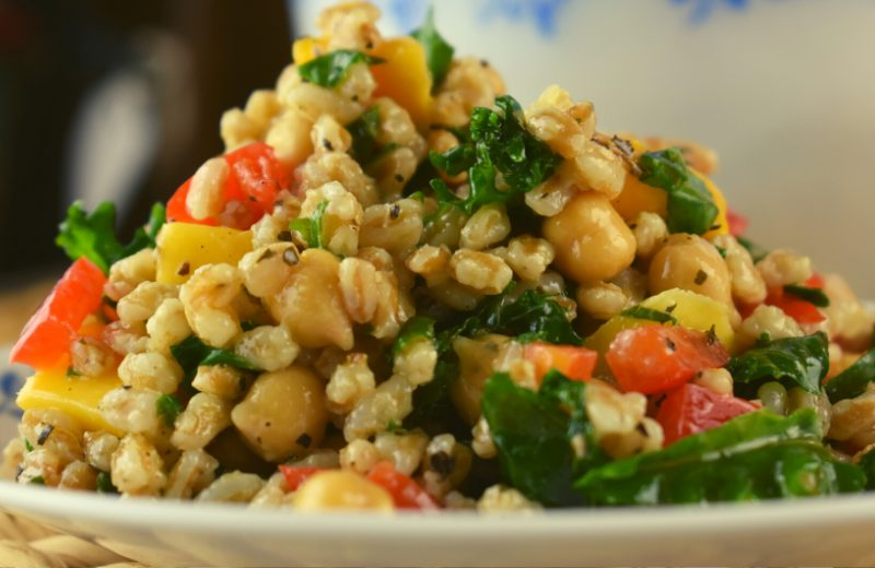 Summer Farro Salad, including Farro Salad Dressing, is the perfect cooked grain salad. Using farro, bulgur, brown rice or whatever your favorite cooked grain, this basic recipe uses both fresh product and healthy canned foods for a salad that's light, yet filling.