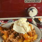 This Crock Pot Peach Cobbler may be the easiest dessert around because all the ingredients get dumped into the slow cooker insert and mixed together.