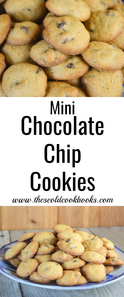 This Mini Chocolate Chip Cookies recipes makes a plateful of crispy, bit-size treats the entire family will enjoy as a snack or lunchbox dessert.