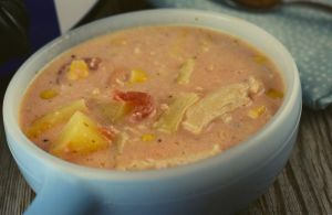 This Crock Pot Chicken Corn Chowder is made using ingredients that most of us on hand in our pantry and is a dish your entire family will love. We love throwing together a meal - like this slow cooker soup - from a bunch of cans from the pantry, especially on a lazy weekend day.