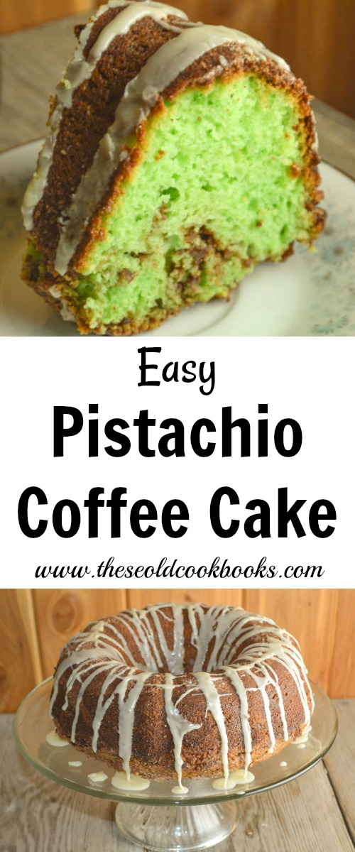 This easy-to-make Pistachio Coffee Cake is not only delicious but is also pleasing to the eye with its bright green color.