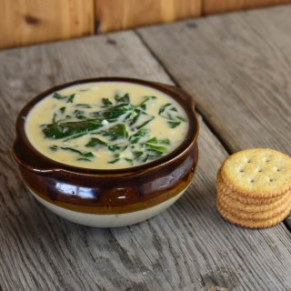 This Bavarian Spinach Beer Cheese Soup is a rich, cheesy soup full of spinach and crab. With Velveeta and Alfredo sauce, this soup is smooth and perfect served with a stack of your favorite crackers.