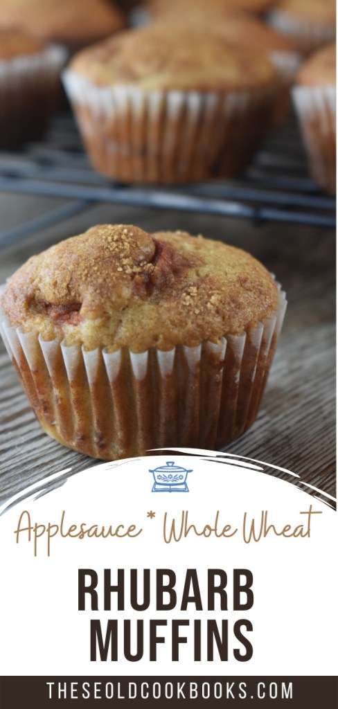 This Rhubarb Muffins recipe is quick and easy to make. With both whole wheat and all-purpose flour, these rhubarb-applesauce muffins are perfect for breakfast or brunch with a cup of coffee. The kids can help mix together the batter and gobble these muffins up with a big glass of milk.