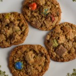 Halloween Candy Monster Cookies are packed full of any kind of leftover candy available. With all of the goodness of traditional monster cookies, these use whatever leftover candy you have sitting around your house.