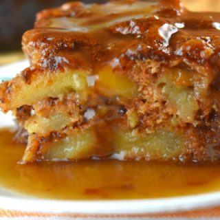 Old-Fashioned Apple Cake with Caramel Sauce is a great dessert that can be made with fresh apples or with a can of apple pie filling. Follow these easy instructions for either version of this yummy warm apple cake.