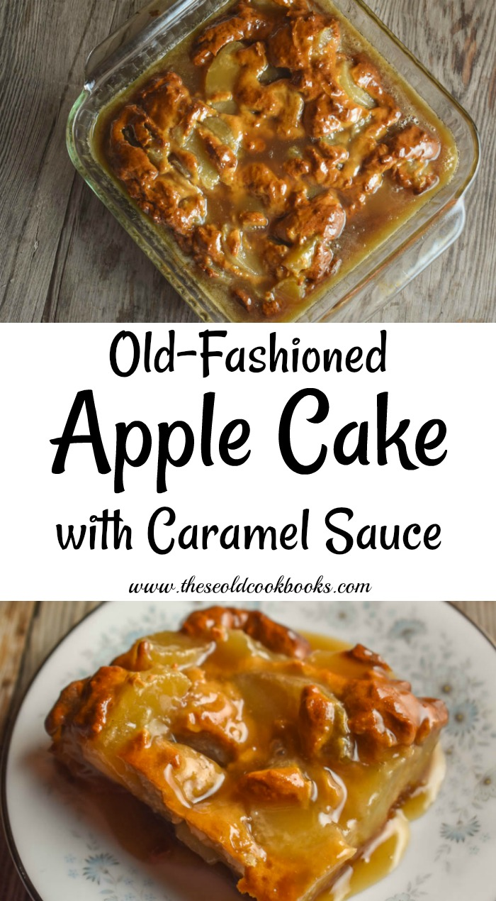 Old-Fashioned Apple Cake with Caramel Sauce is a great fall dessert that can be made with fresh apple or with a can of apple pie filling.