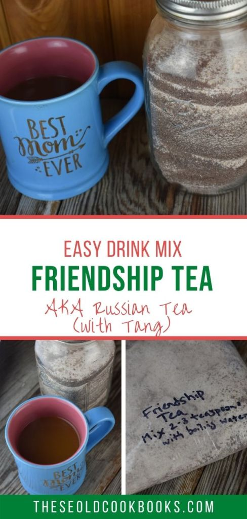 This Friendship Tea recipe is a homemade tea mix that combines instant tea, lemonade and Tang with some spices for a perfect warm drink. Make up a batch of this Friendship Tea to have on hand when guests drop in or to give as the perfect homemade gift with a plate of cookies.