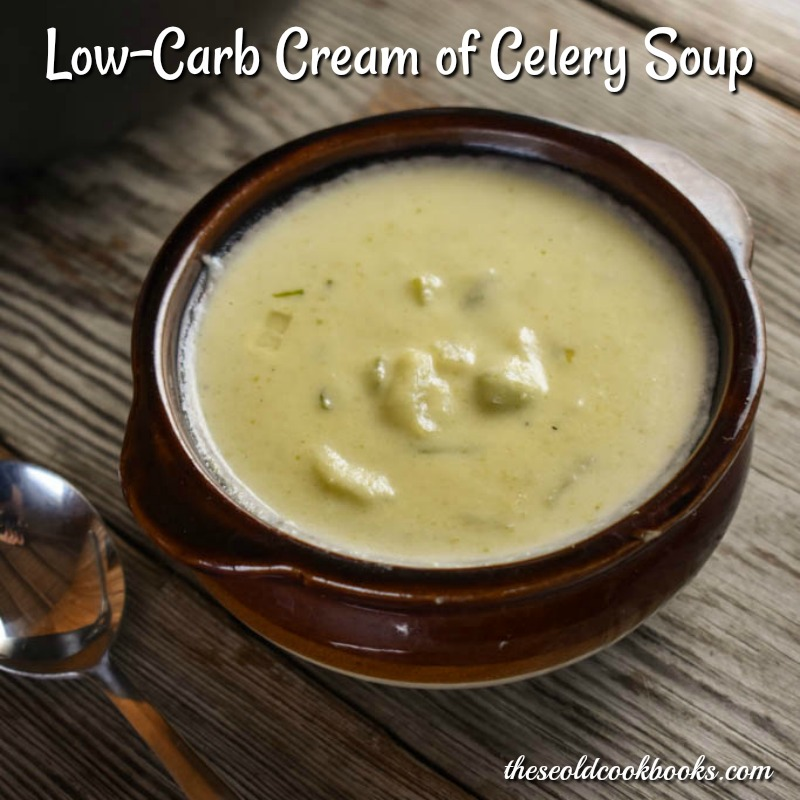 Flour is replaced with riced cauliflower straight from the freezer to give this Low-Carb Cream of Celery Soup some body and creaminess.