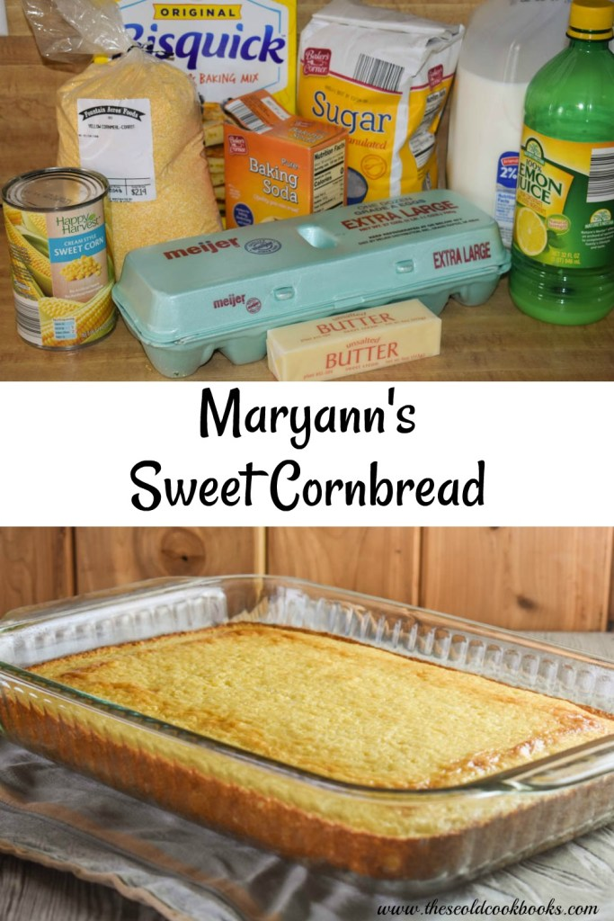 Maryann's Sweet Cornbread is quick to put together using baking mix, corn meal and creamed corn. It's a perfect side dish with your favorite chili or soup.