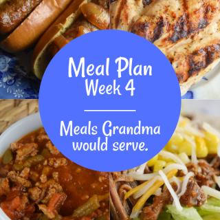 The Weekly Meal Plan for Week 4 includes Fancy Baked Pork Chops, Instant Pot Tomato Braised Kale, Easiest Grilled Chicken Ever, Simple Mango Farro Kale Salad, Vintage Barbecue Burgers, Classic Macaroni Salad, Instant Pot Taco Beef, Cheesy Frito Salad, 10 Minute Lemon Chicken Pasta, Zero Point Weight Watcher Green Bean Chili, Crock Pot Brats and Black Bean Caviar Salsa.