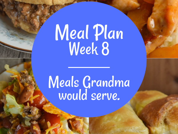 The Weekly Meal Plan for Week 8 includes Coney Island Sauce for Hot Dogs, Cheesy Corn, Jalapeno Cape Codder, Crock Pot Mock Fried Chicken, Sweet and Sour Coleslaw, Easy Baked Tilapia, Black Bean Caviar Salsa, Taco Salad with Homemade Dressing, French Onion Joes, Red Bean Salad, Island Sweet and Sour Pork, Crescent Chicken Bake with Canned Chicken and Quick Asparagus Salad.
