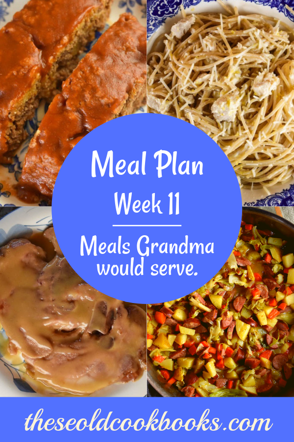 The Weekly Meal Plan for Week 11 includes Shredded Beef BBQ and Old Fashioned Cheesy Squash Casserole, Hard Blackberry Lemonade, Skillet Smoked Sausage and Cabbage Bake and Sweet Cornbread, Overnight French Toast Casserole, 10 Minute Lemon Chicken Pasta, Crockpot Enchilada Meatloaf and Cheesy Frito Salad, Classic Coney Dogs and Old Fashioned Pea Salad, 12 Minute Ham Steak and Sweet and Sour Green Beans, Bologna Salad and Skillet Macaroni and Cheese.