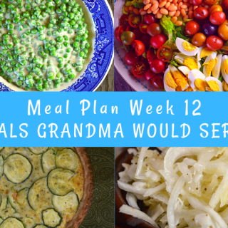 The Weekly Meal Plan for Week 12 includes Crock Pot Beef Brisket, Old Fashioned Cheesy Cabbage Casserole, Amaretto Pina Coladas, Zucchini Quiche, Rhubarb Bread, Maple Sausage Pigs in a Blanket, Crunchy Potato Chip Crusted Chicken Tenders, French Dinner Salad, Easy Sloppy Joes, Sweet and Sour Coleslaw, Tender Crock Pot Spareribs, Sauteed Swiss Chard and Beans, Amaretto Chicken and Rice, Creamed Peas, Sloppy Joe Cups, and Crock Pot Baked Beans with Pineapple.