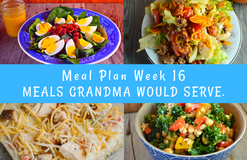 The Weekly Meal Plan for Week 16 includes recipes that won't heat up your kitchen including Classic Orange Julius, Crock Pot Mock Fried Chicken and Classic Spinach Salad, Crock Pot Banana Bread, Seafood Salad, Mom's Cucumbers and Onions, Taco Salad with Homemade Dressing, Chicken Ranch Vegetable Pizza and Old Fashioned Fruit Salad, Grilled Pork Steak and Mango Farro Salad, Crock Pot Brats and Easy BLT Dip, and Tuna BBQ and Crunchy Ranch Pea Salad.