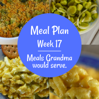 The Weekly Meal Plan for Week 17 includes Stove top Chicken, French Broccoli Casserole, Prep Ahead Old Fashioned Pancakes, Fancy Baked Pork Chops, Rice Pilaf with Peas, Chicken Enchilada Biscuit Bake, French Onion Shepherd's Pie, 4 Ingredient Egg Salad, Cucumbers and Onions, and Cheeseburger Quiche and Skillet Macaroni and Cheese.