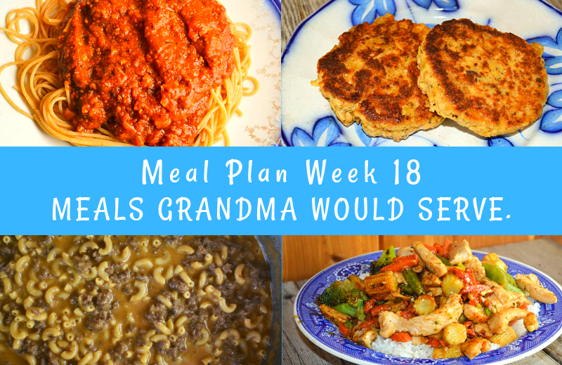 The Weekly Meal Plan for Week 18 includes Classic Coney Dogs and Macaroni Salad, Old Fashioned Rhubarb Coffee Cake and Cheesy Egg Bake, 6 Ingredient Chicken Stir Fry, Frisco Melt Hamburger Helper, Chicken Bow Tie Pasta Salad, Classic Salmon Patties and Asparagus Corn Salad, and Crock Pot Spaghetti Sauce and Pizza Batter Bread.