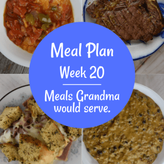 The Weekly Meal Plan for Week 20 includes 3 Ingredient Steak Marinade, Easy Pan Fried Zucchini, Jalapeno Cape Codder, Make Ahead Ham and Cheese Quiche, Vintage Spiced Pumpkin Cake, Easy Reuben Casserole, Crock Pot Enchilada Meatloaf, Velveeta Dip with Black Beans, 4 Ingredient Chicken Legs, Old Fashioned Stewed Tomatoes, Stove Top Italian Bean Soup, Tuna Melt Turnovers and Sweet and Sour Green Beans.