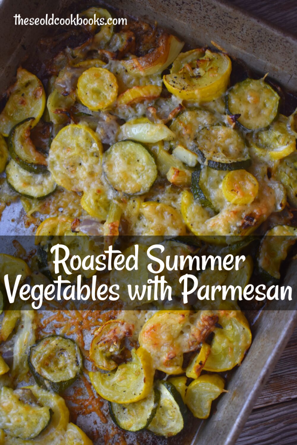 Summer Roasted Vegetables takes your favorite garden bounty and makes the perfect side dish.  Roasting vegetables in olive oil, salt and pepper brings out incredible flavor, and the addition of Parmesan cheese at the end takes it over the top. You will soon be adding this to your list of favorite side dishes.