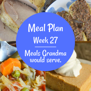 The Weekly Meal Plan for Week 27 includes Slow Cooker Turkey Breast, Italian Green Bean Salad, Low Calorie Cabbage Soup, Cheesy Garlic Biscuits, Chicken Crescent Bake, Pan Fried Zucchini, Flank Steak Taco Salad, Velveeta Black Bean Dip, Mom's Hamburger Gravy, Island Sweet and Sour Pork, Slow Cooker Beef Vegetable Soup and Frozen Pumpkin Delight.