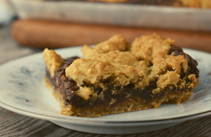 Fudge Nut Bars are a thick and luscious three layered cookie.  The top and bottom is a sweet oatmeal cookie, and the middle is a decadent nut-filled chocolate fudge. The recipe makes a huge pan which is perfect for your next bake sale or family gathering.