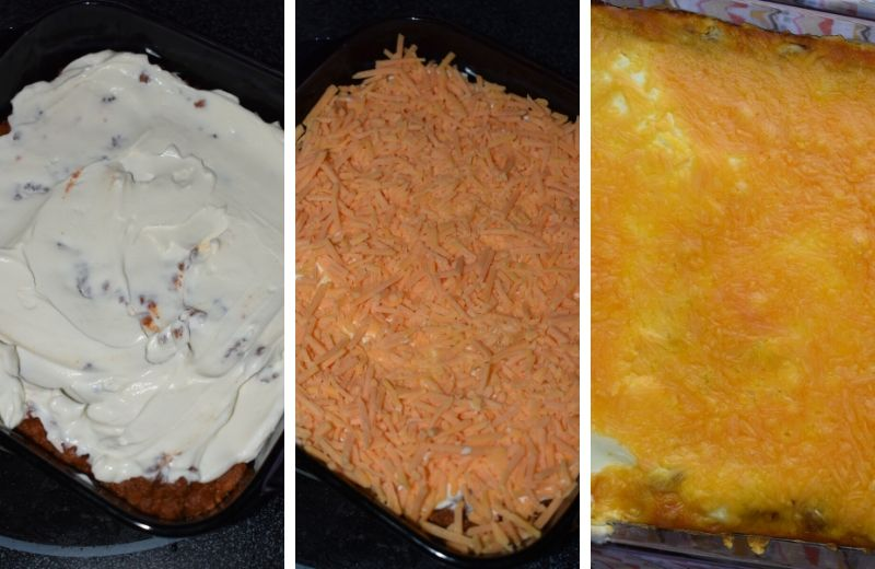 There's only 5 simple ingredients between you and this warm, cheesy Taco Dip with Meat and Beans.  Ground Beef, Re-fried beans, Ortego Taco Sauce, Sour Cream and Shredded Cheese.  This simple appetizer is soon to be your go-to for game day, holidays, family gatherings or Taco Tuesday.