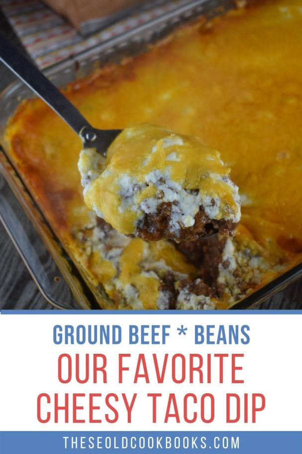 There are only 5 simple ingredients between you and this warm, cheesy Taco Dip with Meat and Beans.  Ground beef, re-fried beans, Ortego Taco Sauce, sour cream and shredded cheese are all you need.  This simple appetizer is soon to be your go-to for game day, holidays, family gatherings or Taco Tuesday.