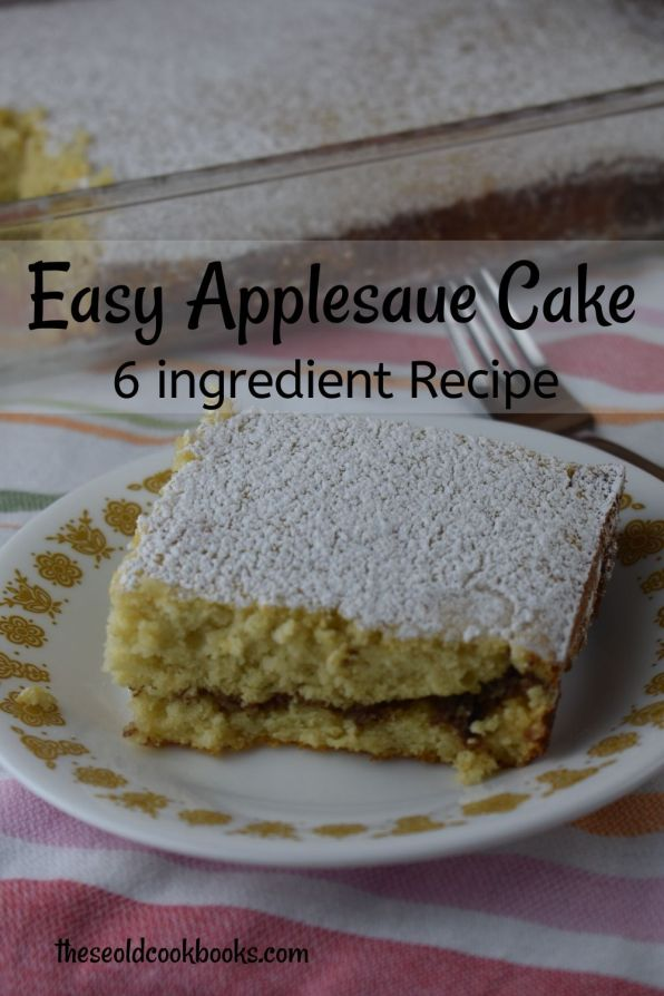 Cake Mix Applesauce Cake is an easy dessert with only 6 ingredients.  Adding applesauce to a boxed cake mix results in a light, moist cake that is irresistible to young and old.