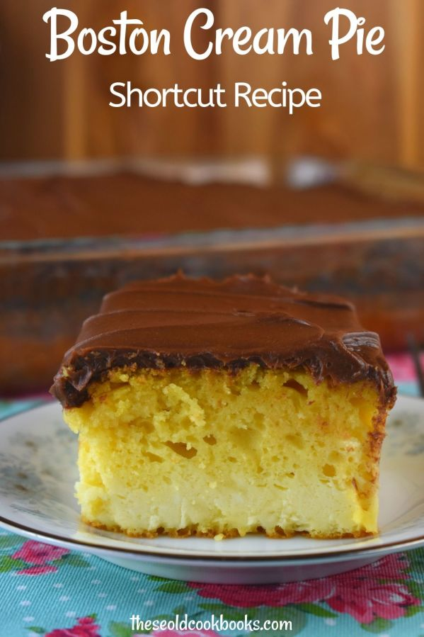 Granny's Boston Cream Cake is a shortcut recipe for your beloved Boston Cream Pie. Topped with chocolate fudge icing, a yellow cake mix is taken to a whole new level with a decadent cream cheese layer.