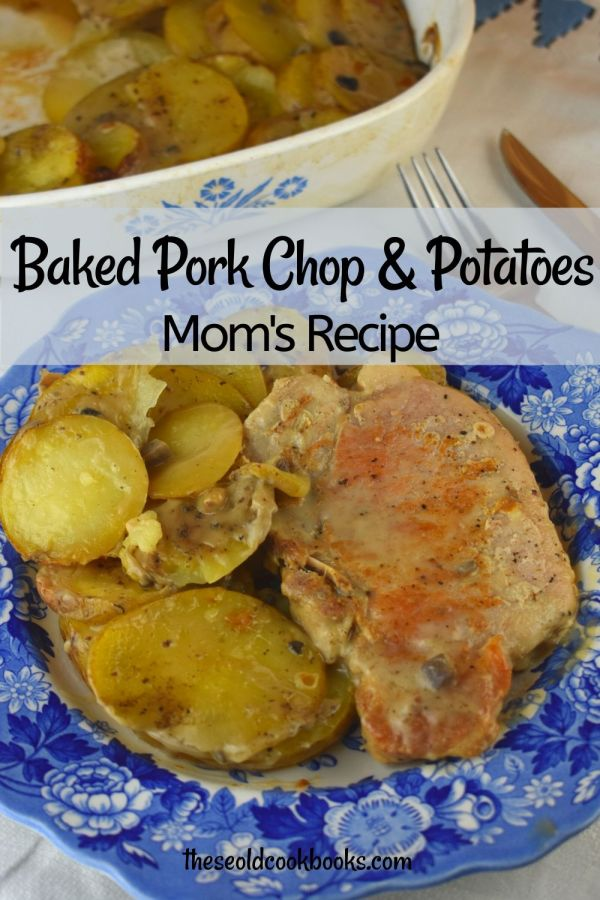 Mom's Oven Pork Chops and Potatoes was served up many nights during my childhood.  This method of baking results in a fork-tender pork chop that the whole family will enjoy. Plus, it's an economical option with only 4 ingredients (plus salt and pepper).