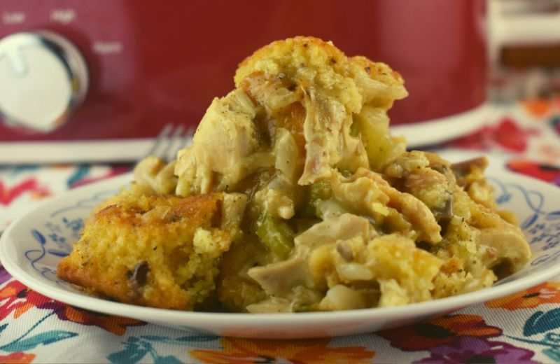 Be prepared to add Crockpot Chicken Cornbread Stuffing Casserole to your regular rotation of dinners. It tastes like the best of Thanksgiving dinner wrapped up into one easy meal. I promise your family will lick their plates clean and beg for more!
