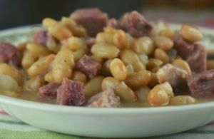 Ham and Beans with Randall Beans is a comfort food at its best.  Using canned beans and leftover ham results in a quick dinner; no one will know that it took a matter of minutes to make.