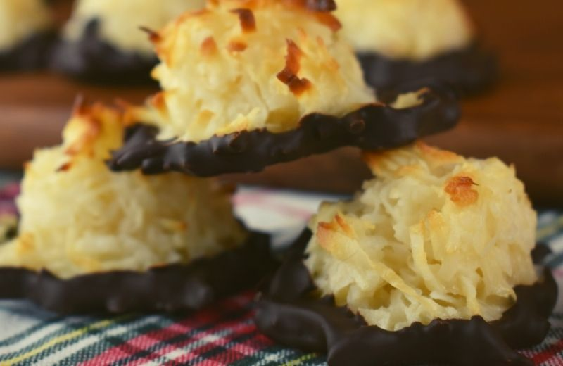 Dark Chocolate Coconut Macaroons are perfect. The classic chewy macaroons get dipped in dark chocolate and then sprinkled with sea salt.