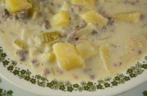 Potato Sausage Soup is an old fashioned sausage soup recipe. This simple potato soup recipe uses breakfast sausage, diced potatoes, celery, and onion which is thickened up with a simple roux.