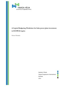 A Capital Budgeting Worksheet for Solar Power plant investment in ...