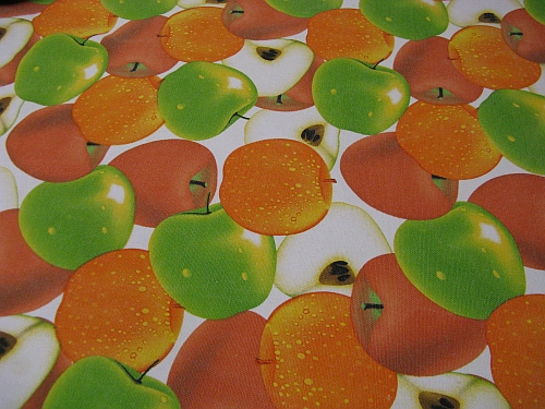Orange and apple canvas fabric