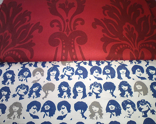Rock Chick and Giant Red Fleur de Lis fabrics