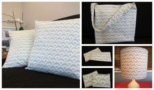 A collage image of products by The Sewphist - cushions, tote bags, pencil cases, coin purses, and lampshades for starters