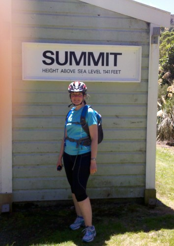 "Me standing by the ""Summit"" sign."