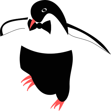 Digital drawing of a penguin, dressed up for a party