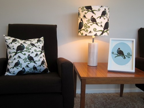 Tui cushion, lamp and art print