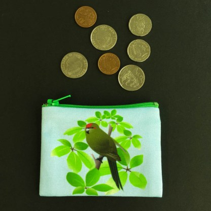 Photograph of small coin purse with coins for size comparison