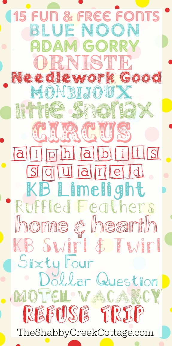 Download Fifteen Free Fun Fonts - The Shabby Creek Cottage