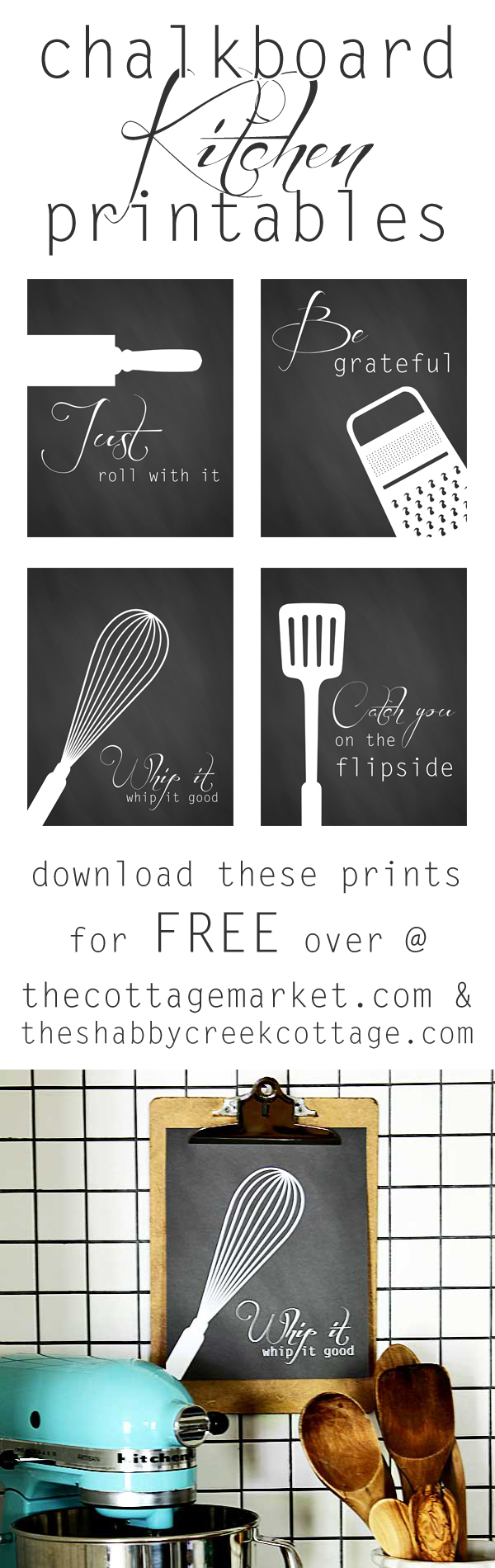 Free kitchen art printables  a set of four