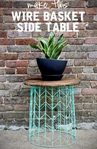 Side table from a wire basket - a 20 minute DIY idea