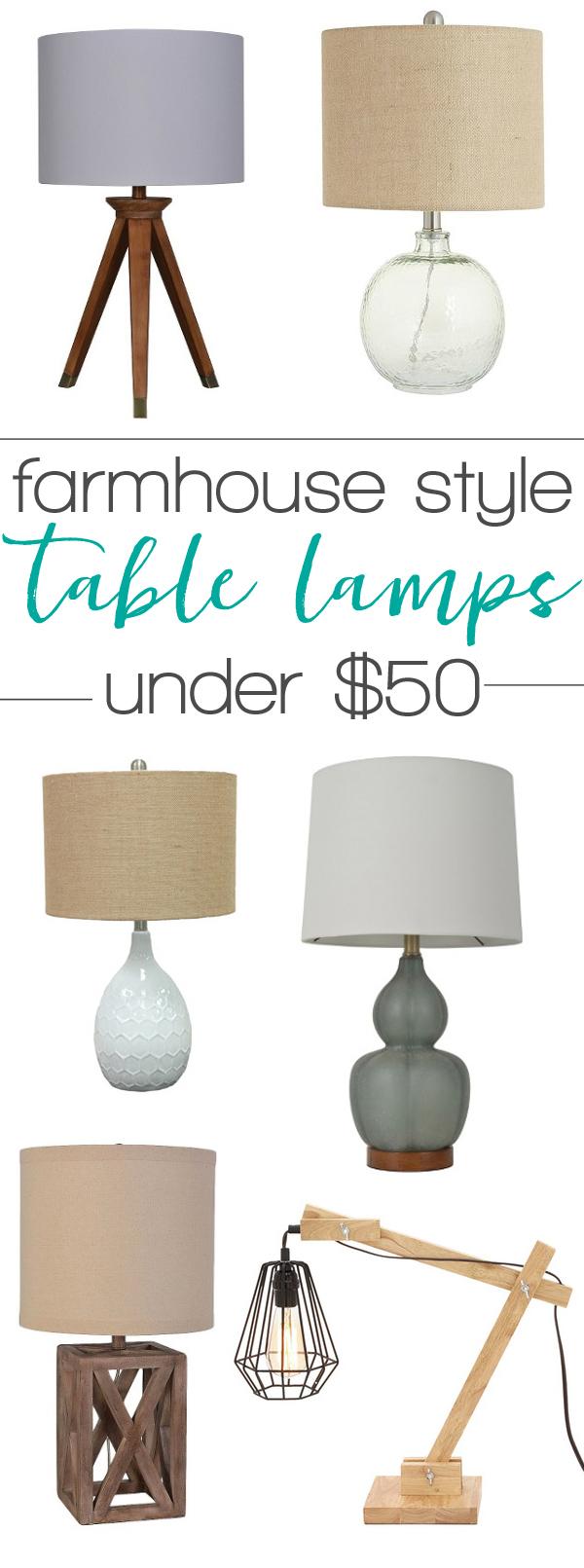 Farmhouse style lamps
