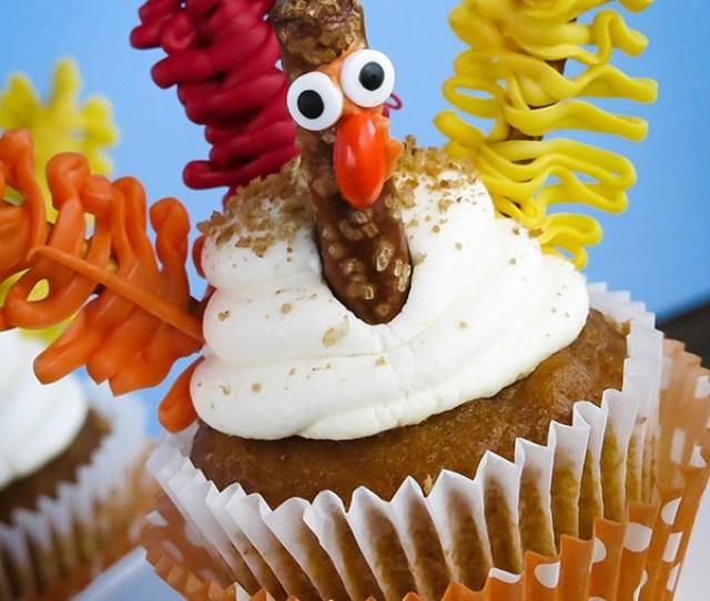 Candy And Pretzel Turkey Cupcakes