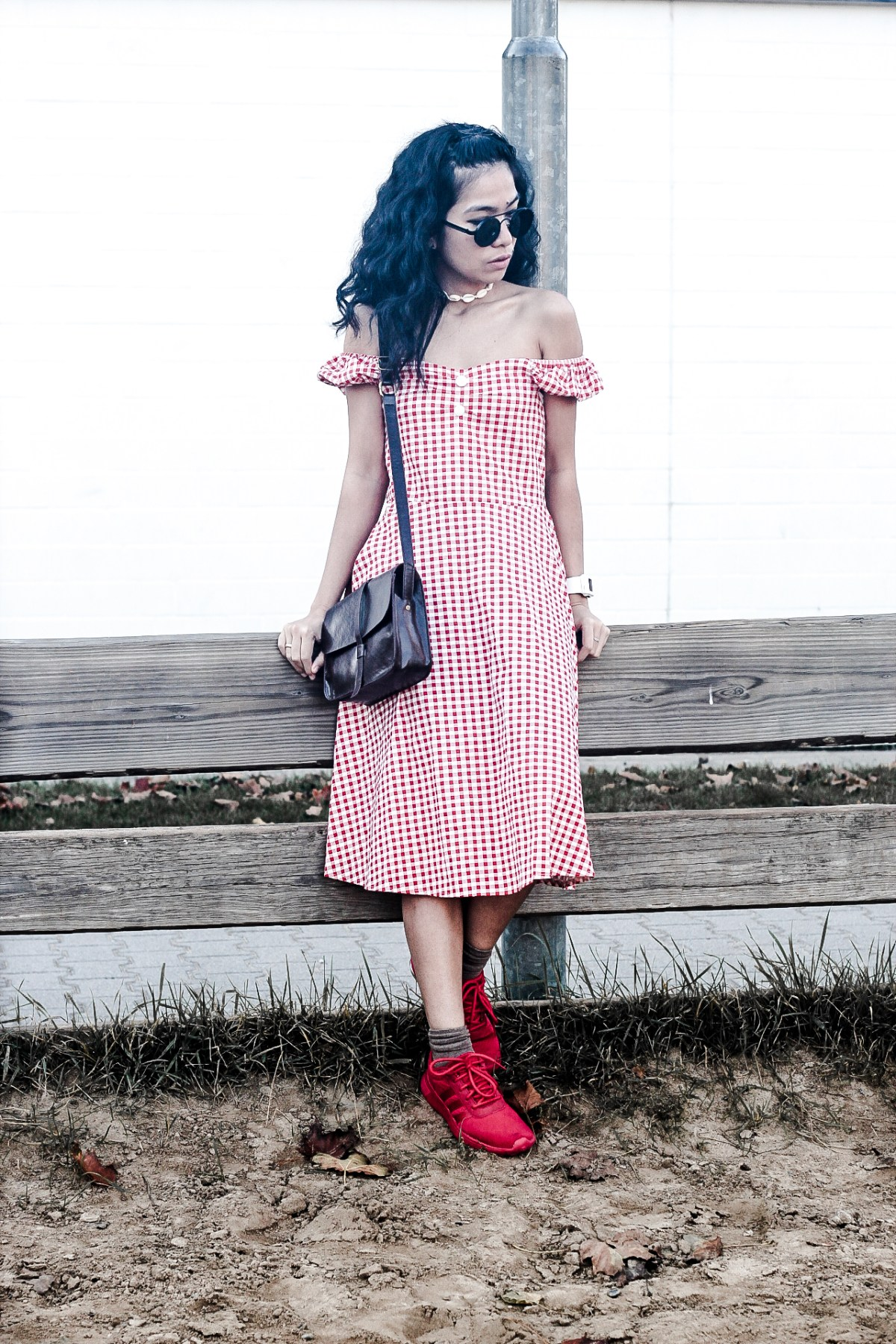 gingham red dress