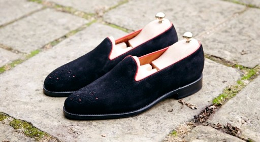Laurelhurst black suede, red piping adjustment2